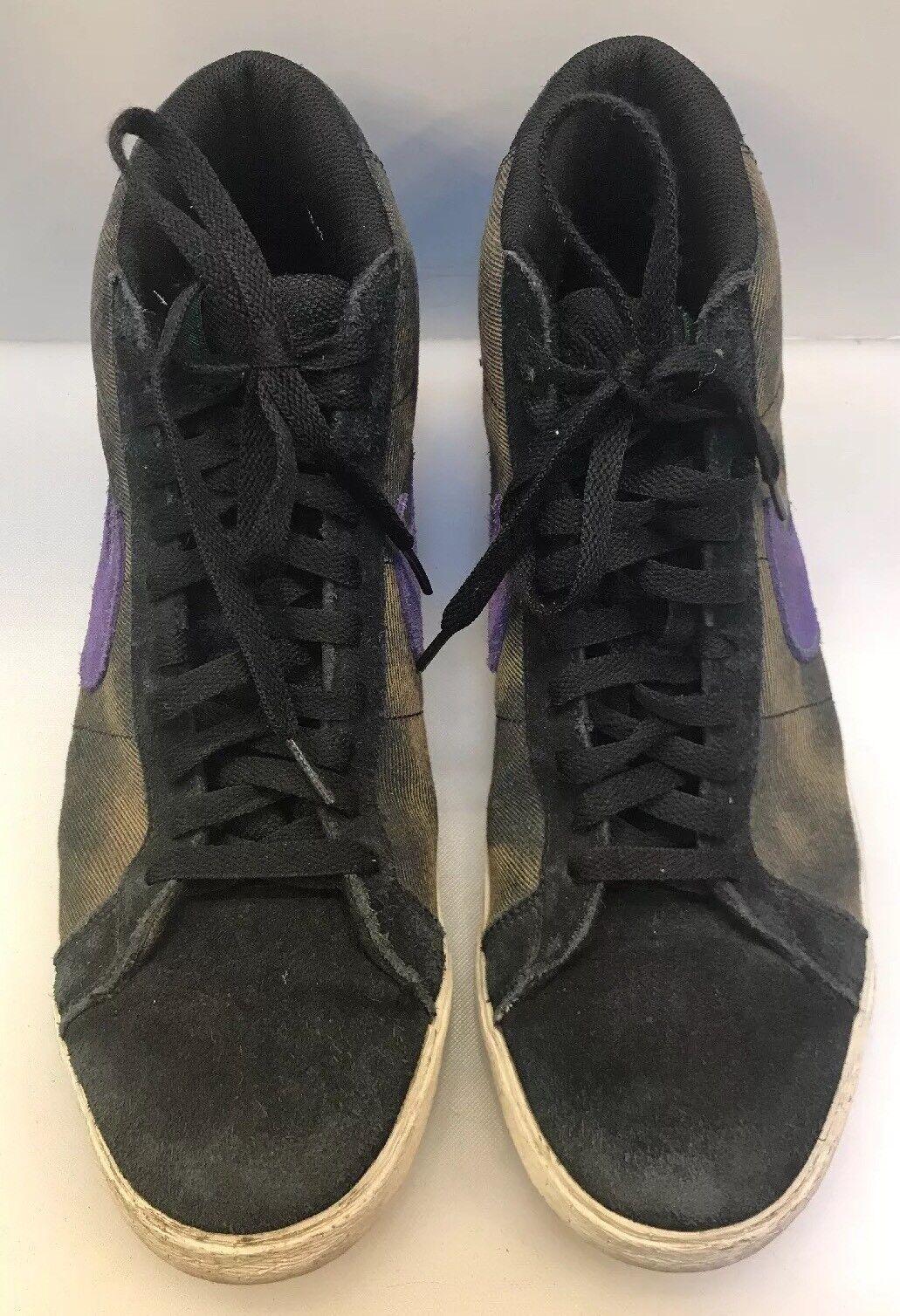 Nike Men 13 SB Blazer Blazer Blazer High Creature 310801 665 Black Suede Leather Canvas Purple f1a3bf