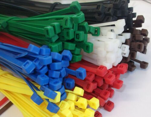 YELLOW PLASTIC STRONG NYLON CABLE TIES ZIP ELECTRICAL WIRE WRAP TIDY VARIOUS