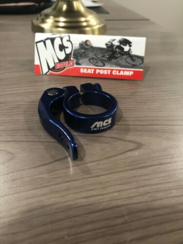"""31.8mm 1-1//4/"""" MCS Bicycles BMX Quick-Release Seat Post Clamp Blue"""