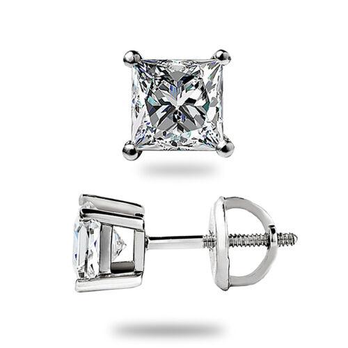 .95 Ct Created Princess Cut Stud Earrings Screw back Pierced 14K White Gold