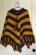 Vintage Poncho Crochet Handmade Hippie Boho Brown Yellow Fringe Pom Poms