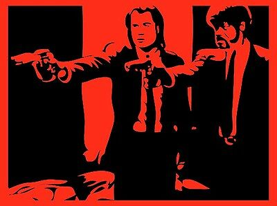 "3.25"" Pulp Fiction Red Stencil Jules & Vincent STICKER. For glass bong or pipe."