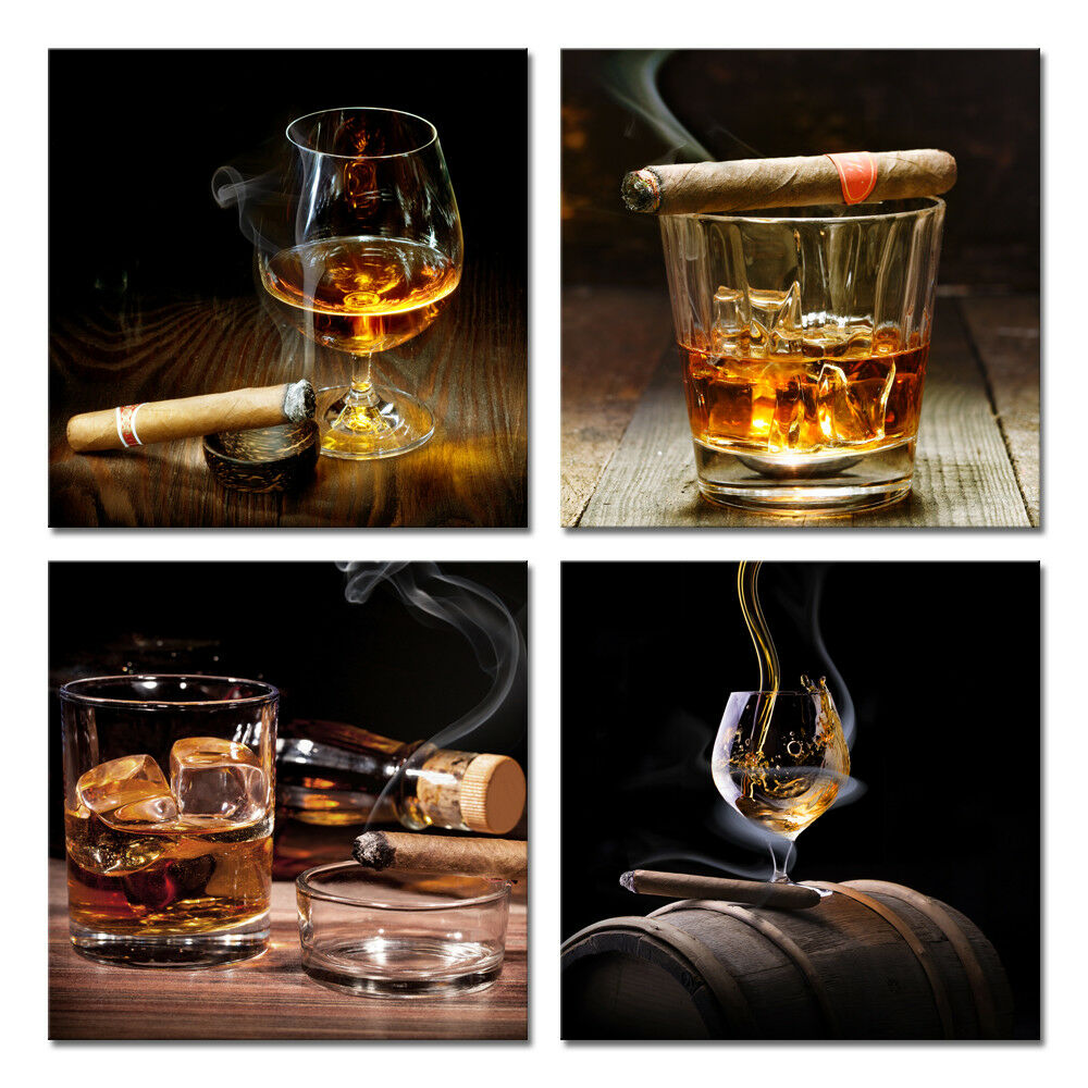 Canvas Wall Art Prints Painting Pictures Photo Home Decor Bar Wine Cigar Brown 4