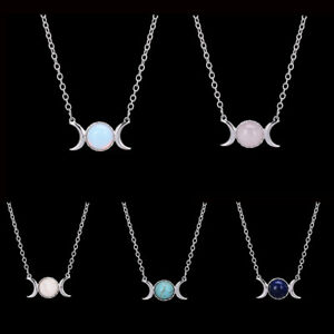 Women-Crescent-Moon-Sun-Pendant-Opal-Necklace-Silver-Chain-Natural-Stone