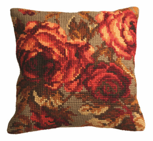 CD5113 right Collection D/'Art Cross Stitch Cushion Kit Cabbage Rose