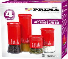 Mainstays Red Stonewear Kitchen Canister Set 4pc Ebay