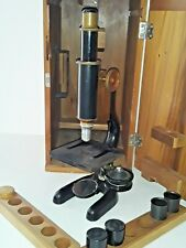 1922 Antique Bausch And Lomb Brass Microscope 156736 In Wooden Case Vintage