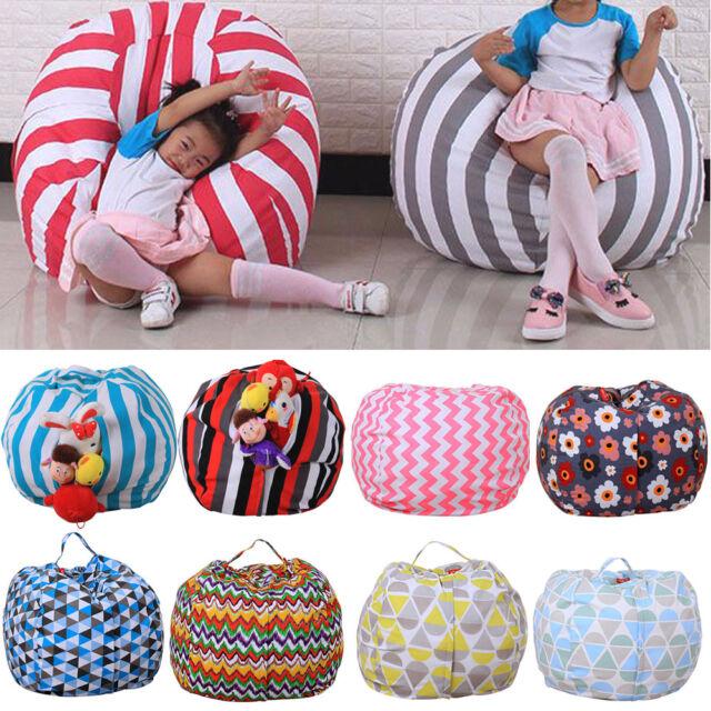 Terrific Kids Storage Bean Bag Stuffed Animal Plush Toy Soft Pouch Stripe Fabric Chair Uk Creativecarmelina Interior Chair Design Creativecarmelinacom