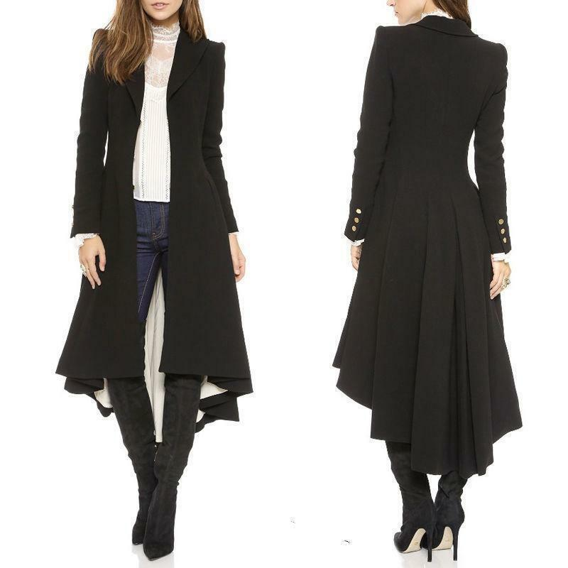 Women Fashion Long Sleeve Pleated Blazer Evening Party Trench Coat Outwears