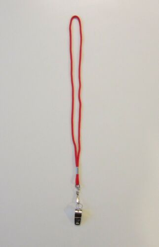 1 NEW HEAVY DUTY CHAMPION BRASS METAL WHISTLE /& 1 RED LANYARD WITH HOOK