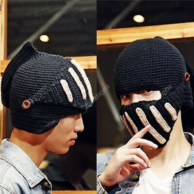 Winter Women Men Buttons Crochet Knit Ski Beanie Wool Roman Knight Hat Cap 31