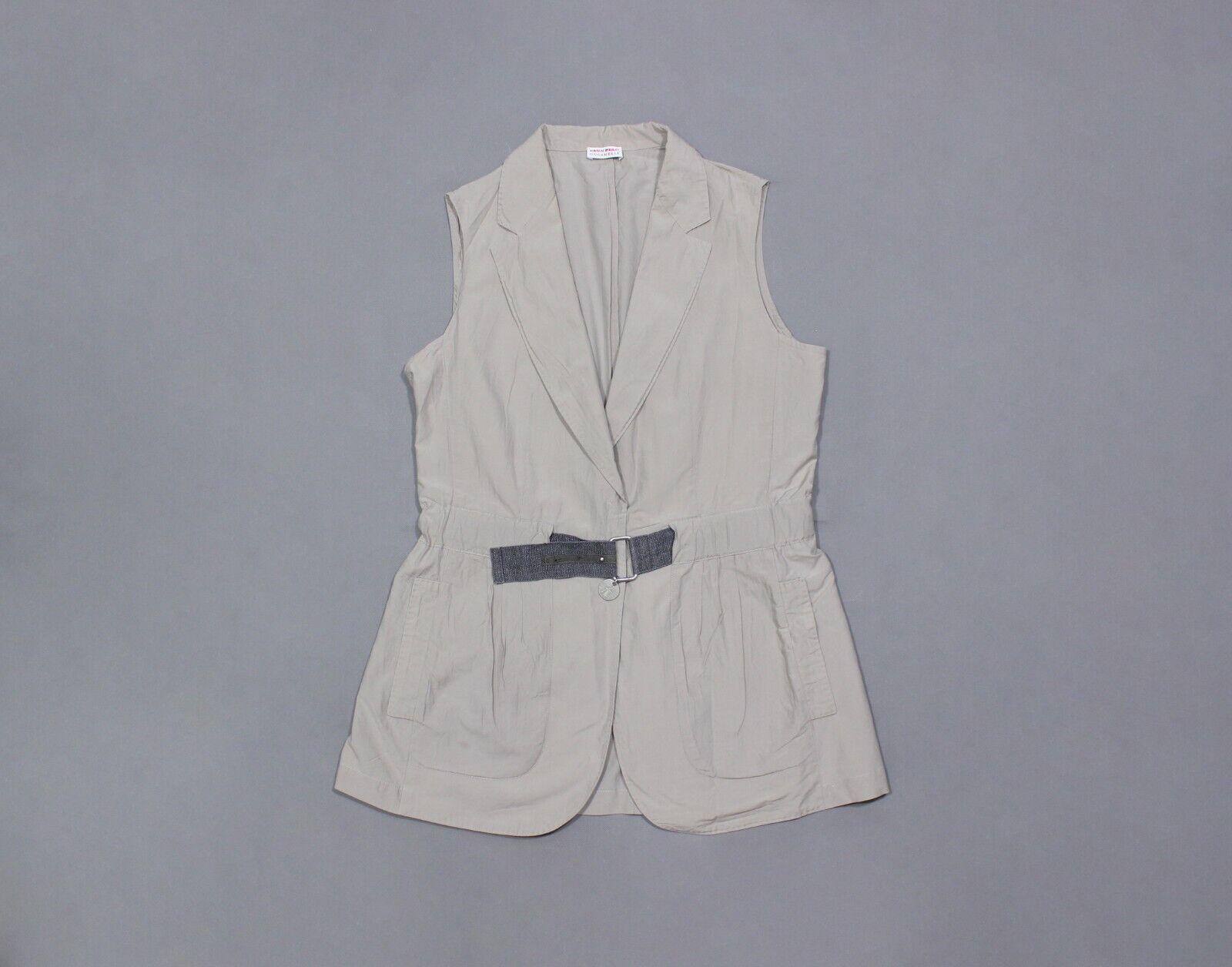Brunello Cucinelli Women's Chain-Logo Silk Cotton Light Long Vest Made in