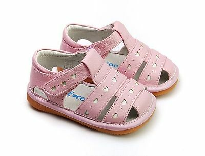 Girl/'s Infant Toddler Childrens Squeaky Shoes White Real Leather Summer Sandals