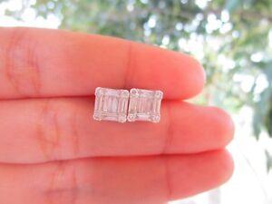 1.25 Carat Face Emerald Illusion Diamond White Gold Earrings 18k sepvergara
