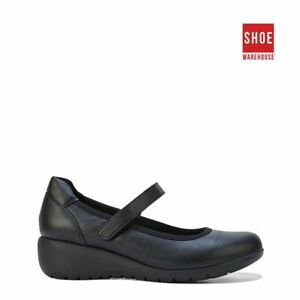 Hush Puppies DURAN Black Womens Self Fastening Strap Casual Leather Shoes