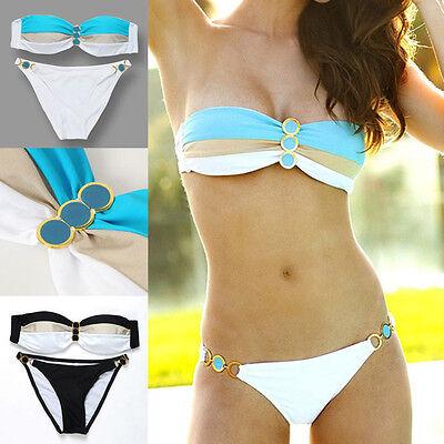 2016 Womens Push Up Padded Button Striated Bikini Swimwear Beach Bathing Suit