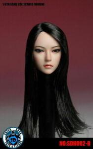 1/6 SUPER DUCK SDH002B Asia Female Black Long Hair Head Sculpt  F 12''PH Body