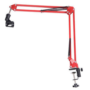 New-Adjustable-Desktop-Microphone-MIC-Suspension-Boom-Scissor-Arm-Stand-Red