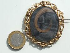 BELLE et GRANDE BROCHE ANCIENNE XIXème PORTE PHOTO / CHEVEUX en PL OR / Ht 5,7cm