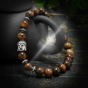 Men-Women-Handmade-Lava-Rock-Bracelet-Natural-Gemstone-Beads-Buddha-Head-Beaded