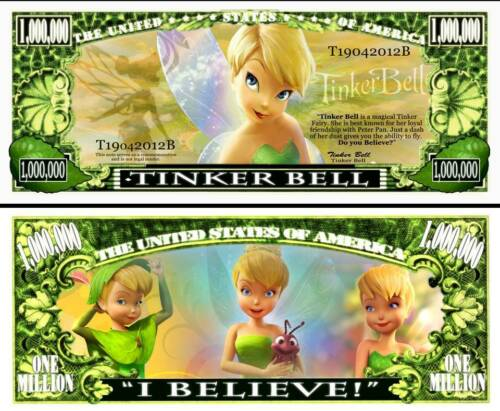 FREE SLEEVE Minnie Mouse Million Dollar Bill Fake Play Funny Money Note