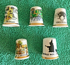 Set-Of-5-English-Counties-Bone-China-Thimbles-Collectable-English-Places