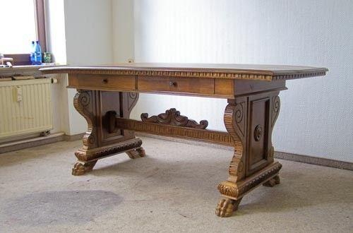 Antiker Schreibtisch Bürotisch Tisch 184 x 85 Holz Nussbaumton Gründerzeit