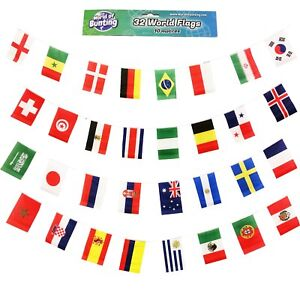 World-32-Country-Flags-Bunting-10m-International-National-Sport-Garden-Outdoor