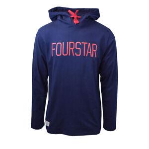 Fourstar-Men-039-s-Navy-Blue-L-S-Pullover-Hoodie