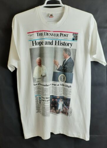 VTG Men's XL The Denver Post Graphic T-Shirt Pope