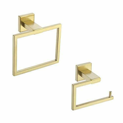 Gold Stainless Steel Toilet Roll Holder & Towel Ring Set, Fixing Set Included