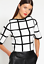 Karen-Millen-KZ068-Grid-Mono-Check-Crop-Sweater-Jumper-Knitted-Top-8-14