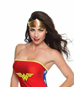 Womens Wonder Woman Headband Gold with Red Star Adult Size Halloween Costume NEW