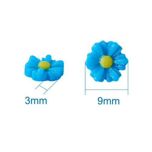 50pc Flatback Colorful Resin Flower Cabochons Mini Charms DIY Craft Making 9x8mm