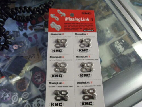 "KMC MISSING LINK II----7 AND 8 SPEED 1//2/"" X 3//32/"" BICYCLE CHAIN LINKS--CARD OF 6"