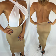 Connie's Deep V Semi Sheer See thru Tan Nude Beige and White Midi Dress M