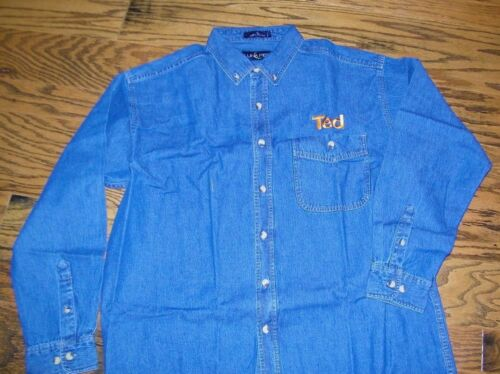 Men/'s Denim Long Sleeve Shirt Ted a Part of United Airlines Size XL Button up