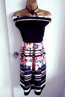 Black Floral Midi Skater Summer  Dress Plus Size