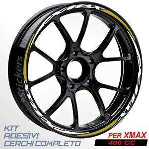 Adesivi-cerchi-ruote-XMAX-400-set-profili-BIANCO-ORO-wheel-stickers-R-5t