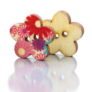 1X-100Pcs-Colores-Boutons-de-fleurs-en-bois-Scrapbooking-bricolage-Fleur-K4-GH