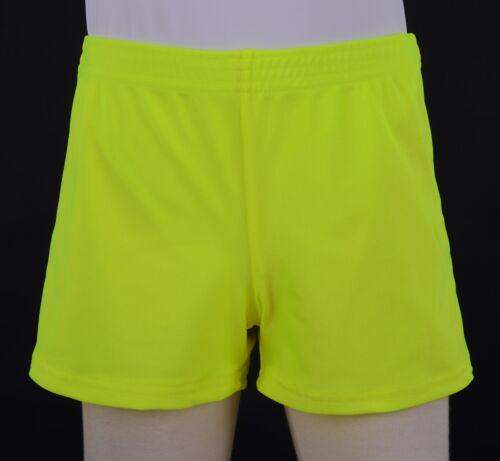 Boys Fluro Yellow Nylon Lycra Square Cut Gymnastics Shorts Football Gym Sports