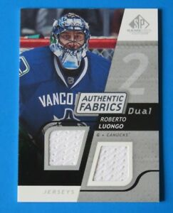 2008  UD SP AUTHENTIC FABRICS ROBERTO LUONGO GAME USED HOCKEY CARD #AF-LG