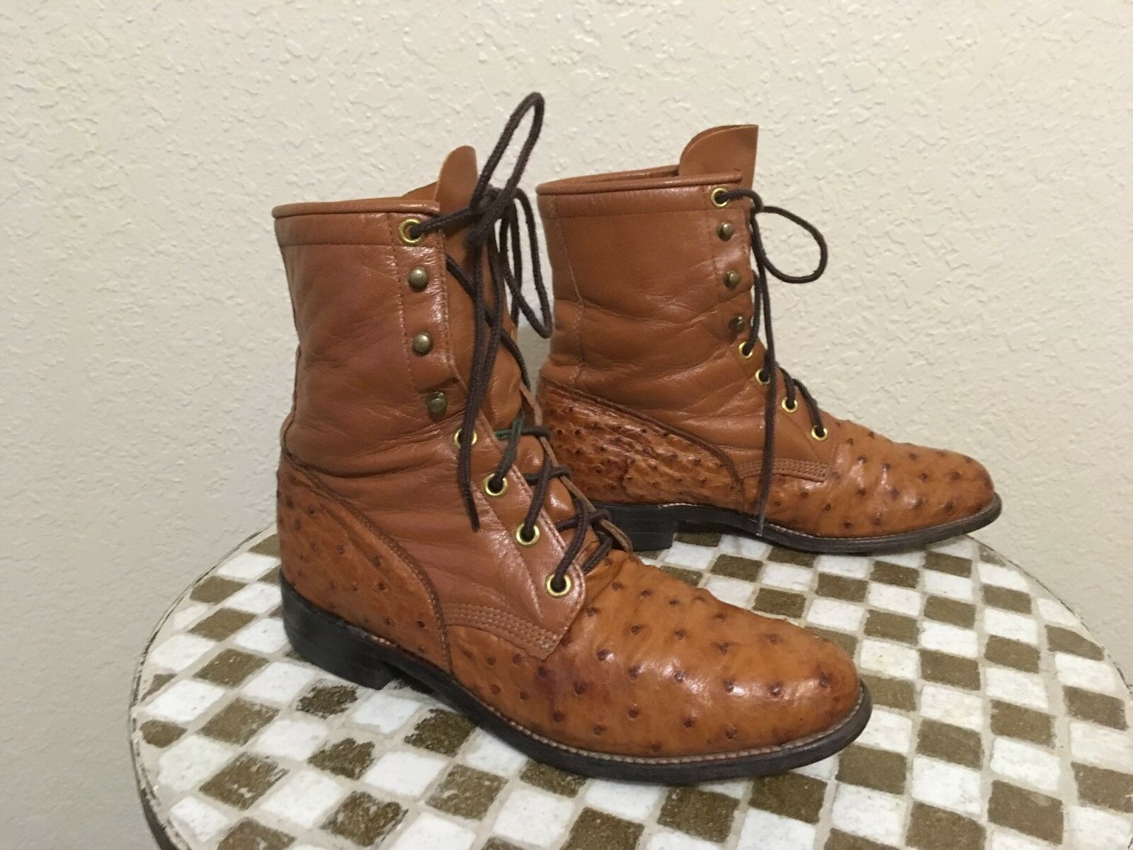 USA COGNAC BROWN DISTRESSED JUSTIN L 654 WESTERN LACE UP OSTRICH BOOTS 6.5 B