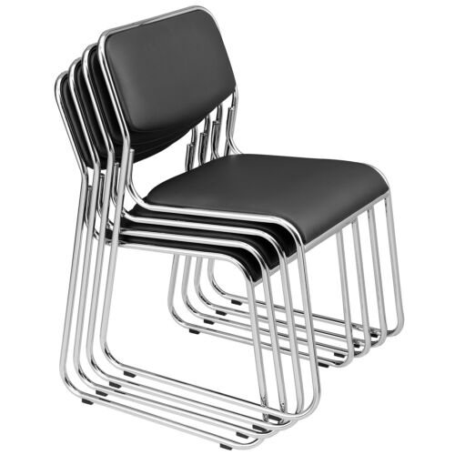 pro.tec ® Design Besucherstuhl Konferenzstuhl Kunst-Leder Schwarz Büro Stuhl 4x