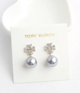 79d1318d9 Image is loading AUTHENTIC-TORY-BURCH-CRYSTAL-PEARL-LOGO-DROP-EARRINGS-