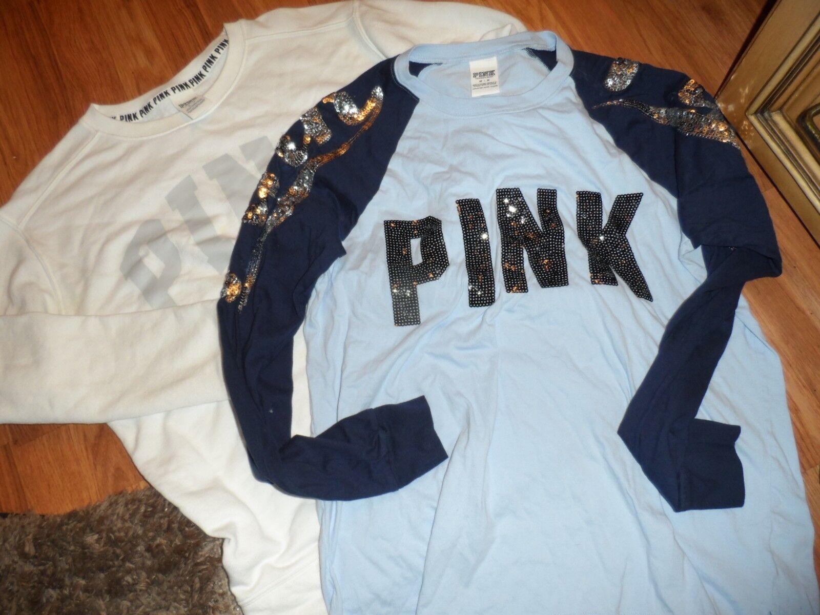 VS Victoria's secret secret secret PINK   crew sweatshirt  top shirt  medium bling ea623b