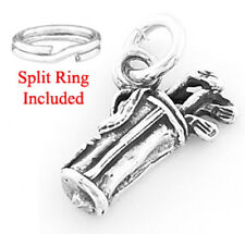STERLING SILVER GOLF BAG & CLUBS CHARM W/SPLIT RING