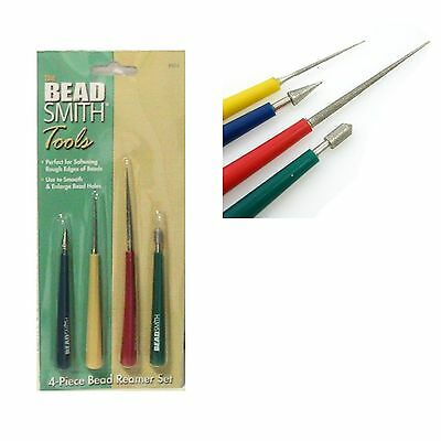Beadsmith - 4 Piece Diamond Tip Reamer Tool Set - Colour Handles Jewellery SB511