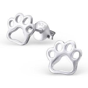 Childrens-Girls-925-Sterling-Silver-PAW-PRINT-Stud-Earrings-Cute-Dog-Boxed-UK