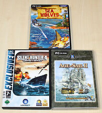 Giochi PC COLLEZIONE SILENT HUNTER 4 Sea LUPO Age of SAILS II battaglie navali